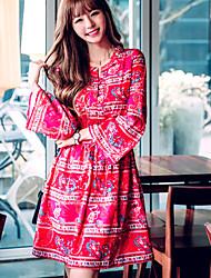 Sign Autumn new Korean horn sleeve printing Slim waist was thin lace long-sleeved dress women