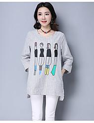 2017 primavera t-shirt nova impressão meninas longa seção em torno do pescoço era fino grandes estaleiros casual camisa listrada