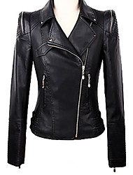 Women's Going out Casual/Daily Work Simple Sophisticated Spring Fall Leather Jacket,Solid Shirt Collar Long Sleeve Short PU