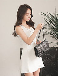 New women ladies small fresh round neck Slim was thin sleeveless dress irregular spot