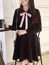 Style anli, hepburn, vent, coup, couleur, arc, légèrement texturé, taille, peu, noir, robe