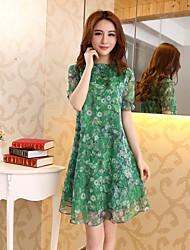 2017 verão nova-coreano em torno do pescoço de manga curta vestido de chiffon de seda grandes estaleiros solto vestido
