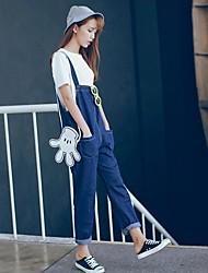 Signe du printemps 2017 de la mode nouvel institut coréen de combinaisons de jeans en vrac et confortables en denim