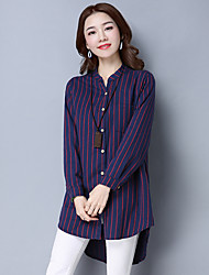 Sign 2017 spring new literary loose V-neck striped long-sleeved cotton shirt dress long section