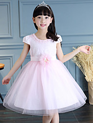 Girl's Cotton Sweet Going out Casual/Daily Holiday Solid Color Lace Bowknot Patchwork Princess Dress Cotton Summer Short Sleeve Bead White Pink