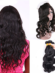 Vinsteen Brazilian Body Wave Human Hair Weaves 3Bundles Human Hair Extensions 8A 100% Unprocessed with 360 Lace Frontal Closure Can Be Dyed