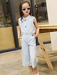 Girls' Casual/Daily Solid Sets,Polyester Summer Sleeveless Clothing Set