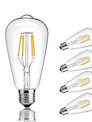 4W E27 Ampoules à Filament LED ST64 4 COB 360 lm Blanc Chaud Blanc Froid Décorative AC 100-240 V 5 pièces
