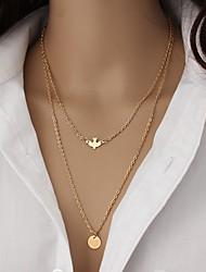 Feminino colares em camadas Jóias Formato Animal Pássaro Liga Animal Durável Dupla camada Multi-maneiras Wear Multi Camadas Dourado Jóias