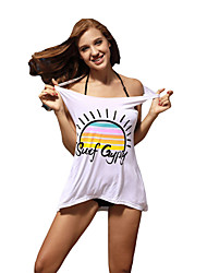 Women's Beach Holiday Simple Cute Tank Top,Letter Round Neck Sleeveless Cotton