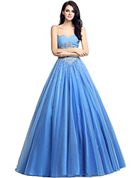 Ball Gown Sweetheart Floor Length Tulle Formal Evening Dress with Beading