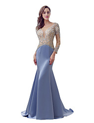 Mermaid / Trumpet Scoop Neck Sweep / Brush Train Satin Formal Evening Dress with Beading