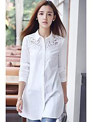 реальный выстрел 2016 осени новых корейского вентилятор крупных женщины размера ажурная вышивка рубашка женский длинный отрезок
