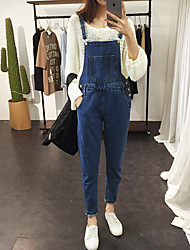 2017 spring and summer wear scar personalized large pocket denim overalls denim trousers female light