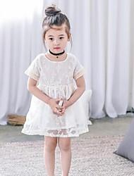 Girl's Solid Dress,Cotton Spandex Summer Short Sleeve
