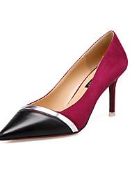 Damen-High Heels-Kleid-Wildleder-Stöckelabsatz-Komfort-Grau Rosa Burgund