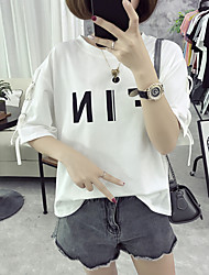 Sign loose big yards letters printed bandage casual T-shirt female fat MM cotton blouse 6535