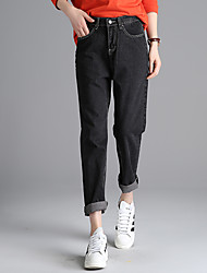 Sign in spring 2017 Korean version was thin loose waist wide leg jeans, black and gray denim pants collapse female