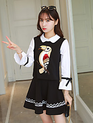 Korean sweet doll collar sequined embroidery horn sleeve high waist A word skirt piece fitted dress