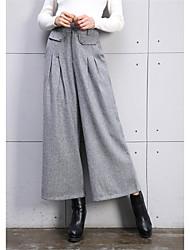 2016 hitz versão coreana de calças de lã perna de pernas largas feminino frisado calças de brim retas calças casuais pernas calças gordo