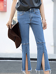 Split personality flash spring new boot-cut jeans female elastic waist was thin Slim pant tide