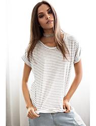 Style européen, été, nouvelle femme, rayé, chauve-souris, chemise, section mince, respirant, coton, loose, manches courtes, t-shirt