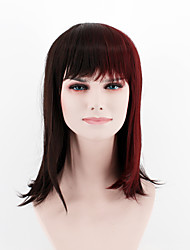 Japan and South Korea fashion section black red brown mixed color short paragraph Straight Bangs straight hair high temperature wire wig