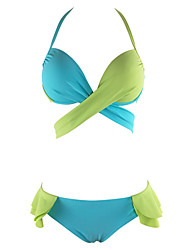 Women's Halter TankiniLace Up Color Block Bow Cute Sweet Casual Sexy Bikini