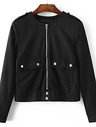Women's Going out Simple Spring Jacket,Solid V Neck Regular Cotton PU