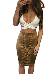 Brown Lace Up Eyelet Faux Suede Midi Skirt