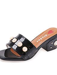 Women's Slippers & Flip-Flops Summer T-Strap Leatherette Outdoor Dress Casual Chunky Heel Block Heel Pearl Rivet White Black Walking