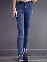 Tight trousers worn jeans spring models female feet pants trousers elastic thin pencil pants real shot