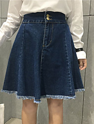 Women's High Rise Casual/Daily Above Knee Skirts A Line Solid Summer