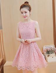 Sign 2017 summer new Korean version of the Slim waist ladies lace sleeveless A-line dress tutu skirt