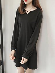 Mme. Qian chinstudio personnalisé sous-jacent élégance rétro puff v-neck était mince robe