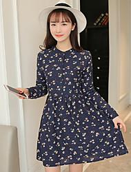 signe printemps 2017 nouvelles femmes coréennes minces était la taille longiligne petite robe imprimée marguerite talonnage