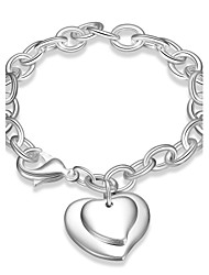 Exquisite Silver Plated Big Heart Pendant Chain & Link Bracelets Jewellery for Women Accessiories
