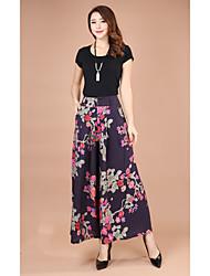 Femme Chinoiserie Taille Haute Extensible Chino Pantalon,Ample Blocs de Couleur