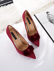 Damen-High Heels-Kleid-Wildleder-Stöckelabsatz-Komfort-Schwarz Burgund