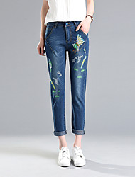 Sign embroidered jeans female trousers Korean students loose pants waist pencil pants feet