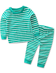Baby Girl Children's Casual/Daily Striped Sleepwear-Cotton -All Seasons Spring Fall Long Sleeve Boy Kids Leisure Wear Set