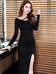Sign 2017 spring long section of high-slit dress sexy nightclub dress uniform skirt skirt Slim bottoming