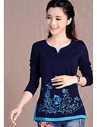 Damen Solide Chinoiserie Lässig/Alltäglich T-shirt,V-Ausschnitt Frühling Langarm Baumwolle Mittel