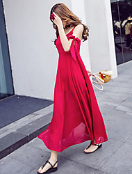 Sign elegant burgundy strap jumpsuit dress beach resort beach dress harness dress big skirt