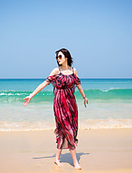 Sling strapless flounced chiffon goddess of the sea beach dress bohemian dress holiday dress