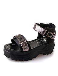 Women's Sandals Creepers PU Spring Summer Casual Dress Creepers Magic Tape Flat Heel Gray Ruby 2in-2 3/4in