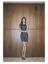 2017 mola e verão coreano novo senhoras temperamento moda retro costura vestido de renda slim pacote hip