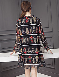 2017 spring new long-sleeved silk dress women print dress silk high heels arc