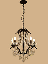 LightMyself 5 Lights Crystal Chandelier Modern/Contemporary Traditional/Classic Rustic/Lodge Tiffany Vintage Retro Lantern Drum Country Painting