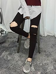 primavera de 2017 la versión coreana de la nueva moda de los pantalones vaqueros de rodilla pies agujero de trépano lápiz estilo